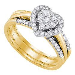 0.50 CTW Diamond Heart Bridal Engagement Ring 14KT Yellow Gold - REF-67X4Y