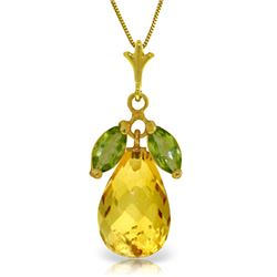 Genuine 7.2 ctw Citrine & Peridot Necklace Jewelry 14KT Yellow Gold - REF-30F5Z