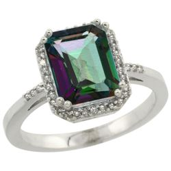 Natural 2.63 ctw Mystic-topaz & Diamond Engagement Ring 10K White Gold - REF-32R7Z