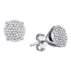 0.25 CTW Diamond Circle Cluster Stud Earrings 10KT White Gold - REF-19Y4X