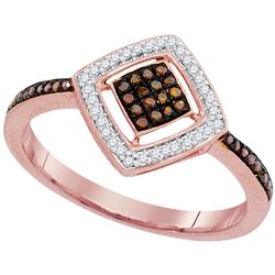 0.18 CTW Red Color Diamond Diagonal Square Cluster Ring 10KT Rose Gold - REF-25M4H