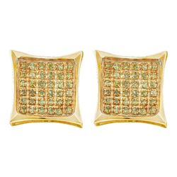 0.05 CTW Mens Yellow Color Diamond Cluster Square Kite Earrings 10KT Yellow Gold - REF-6X2Y