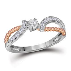 0.10 CTW Diamond Rope Bridal Wedding Engagement Ring 10KT Two-tone Gold - REF-18X2Y