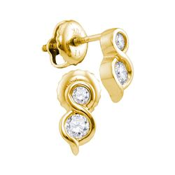 0.25 CTW Diamond 2-stone Hearts Together Stud Earrings 14KT Yellow Gold - REF-30M2H