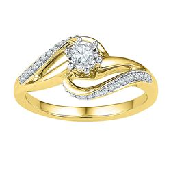 0.20 CTW Diamond Solitaire Swirl Bridal Engagement Ring 10KT Yellow Gold - REF-26F9N