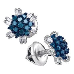 0.50 CTW Blue Color Diamond Cluster Screwback Earrings 10KT White Gold - REF-24Y2X