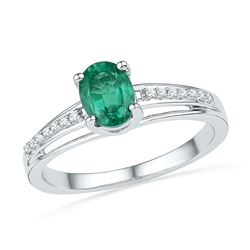 0.07 CTW Oval Created Emerald Solitaire Ring 10KT White Gold - REF-14N9F