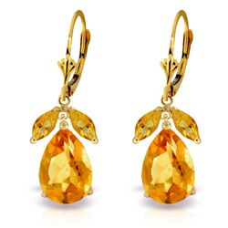Genuine 13 ctw Citrine Earrings Jewelry 14KT Yellow Gold - REF-61R2P