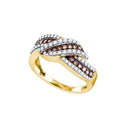 0.75 CTW Cognac-brown Color Diamond Crossover Ring 10KT Yellow Gold - REF-44N9F