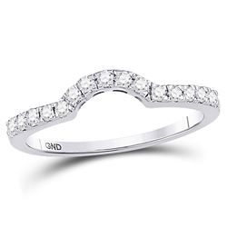 0.28 CTW Diamond Curved Wedding Ring 14KT White Gold - REF-30K2W