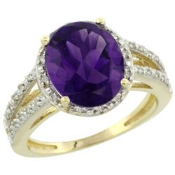 Natural 3.47 ctw Amethyst & Diamond Engagement Ring 14K Yellow Gold - REF-46K3R