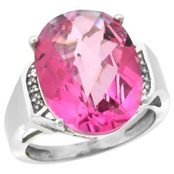 Natural 11.02 ctw Pink-topaz & Diamond Engagement Ring 10K White Gold - REF-50X9A