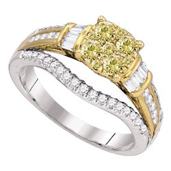 0.99 CTW Yellow Diamond Cluster Bridal Engagement Ring 14KT White Gold - REF-119F9N