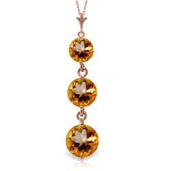 Genuine 3.6 ctw Citrine Necklace Jewelry 14KT Rose Gold - REF-24X4M