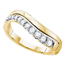 0.33 CTW Diamond Curved Single Row Ring 14KT Yellow Gold - REF-44Y9X