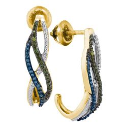 0.25 CTW Green Blue Color Diamond Half J Hoop Earrings 10KT Yellow Gold - REF-22X4Y