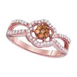 0.35 CTW Cognac-brown Color Diamond Cluster Ring 10KT Rose Gold - REF-28W4K