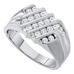 0.52 CTW Mens Diamond Cluster Ring 10KT White Gold - REF-44N9F