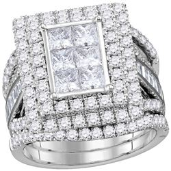 4.07 CTW Princess Diamond Rectangle Cluster Bridal Ring 14KT White Gold - REF-419K9W