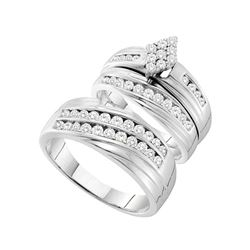 1.19 CTW His & Hers Diamond Cluster Matching Bridal Ring 14KT White Gold - REF-134F9N