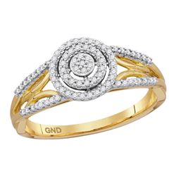 0.20 CTW Diamond Cluster Bridal Engagement Ring 10KT Yellow Gold - REF-24N2F
