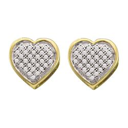 0.14 CTW Diamond Heart Earrings 10KT Yellow Gold - REF-18K2W