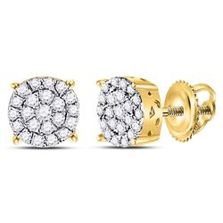 0.25 CTW Diamond Cluster Earrings 10KT Yellow Gold - REF-18Y7X