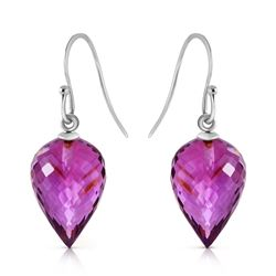 Genuine 19 ctw Amethyst Earrings Jewelry 14KT White Gold - REF-28R4P