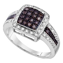 0.50 CTW Brown Color Diamond Cluster Ring 14KT White Gold - REF-47Y9X