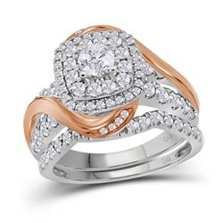 1.5 CTW Diamond Certified Double Halo Bridal Wedding Ring 14KT Two-tone Gold - REF-179W9K