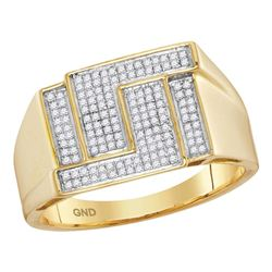 0.28 CTW Mens Pave-set Diamond Angle Rectangle Cluster Ring 10KT Yellow Gold - REF-37F5N