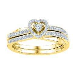 0.25 CTW Diamond Heart Bridal Engagement Ring 10KT Yellow Gold - REF-33M8H