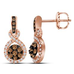 0.50 CTW Cognac-brown Color Diamond Cluster Dangle Earrings 10KT Rose Gold - REF-52K4W