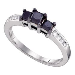 0.80 CTW Black Color Diamond 3-stone Bridal Ring 10KT White Gold - REF-26Y9X