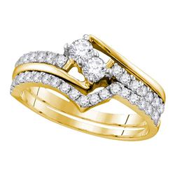 0.74 CTW 2-Stone Diamond Hearts Together Bridal Ring 10KT Yellow Gold - REF-64F4N