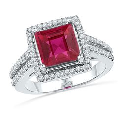 0.33 CTW Cushion Created Ruby Solitaire Diamond Ring 10KT White Gold - REF-37K5W