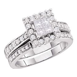 0.50 CTW Princess Diamond Square Halo Bridal Engagement Ring 14KT White Gold - REF-75H2M