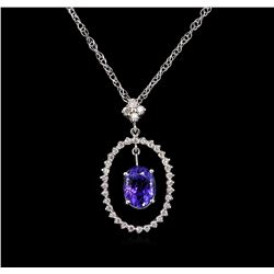 2.78 ctw Tanzanite and Diamond Pendant With Chain - 14KT White Gold