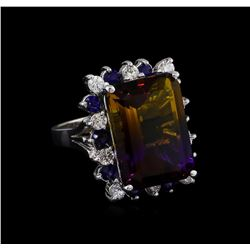 15.97 ctw Ametrine, Sapphire and Diamond Ring - 14KT White Gold