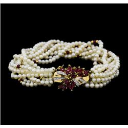 2.50 ctw Ruby, Diamond and Pearl Bracelet - 14KT Yellow Gold