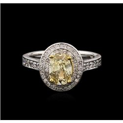 1.38 ctw Fancy Yellow Diamond Ring - 14KT Two-Tone Gold