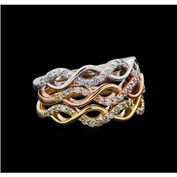 0.44 ctw Diamond Ring - 14KT Tri Color Gold