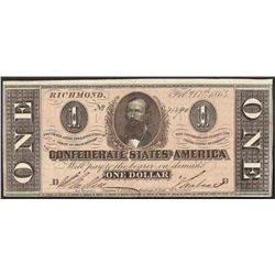 1864 $1 Confederate States of America Note
