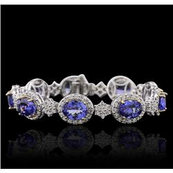 14KT Two-Tone Gold 18.81 ctw Tanzanite and Diamond Bracelet