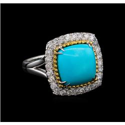 14KT White Gold 4.02 ctw Turquoise and Diamond Ring