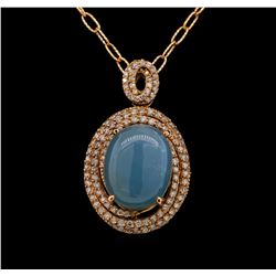 14KT Rose Gold 14.35 ctw Chrysoprase and Diamond Pendant With Chain