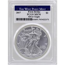 2017-W $1 American Silver Eagle Coin PCGS MS70 First Strike