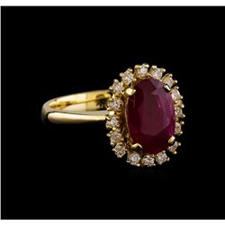 2.49 ctw Ruby and Diamond Ring - 14KT Yellow Gold