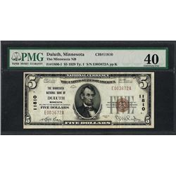 1929 $5 National Currency Note Duluth, MN CH# 11810 PMG Extremely Fine 40