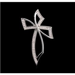 0.94 ctw Diamond Cross Pendant - 14KT White Gold